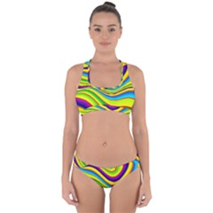Summer Wave Colors Cross Back Hipster Bikini Set