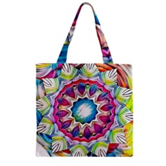 Sunshine Feeling Mandala Zipper Grocery Tote Bag