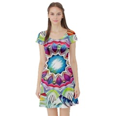 Sunshine Feeling Mandala Short Sleeve Skater Dress