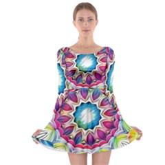 Sunshine Feeling Mandala Long Sleeve Skater Dress