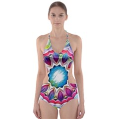 Sunshine Feeling Mandala Cut Out One Piece Swimsuit