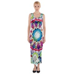 Sunshine Feeling Mandala Fitted Maxi Dress
