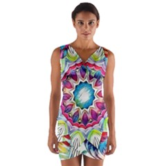 Sunshine Feeling Mandala Wrap Front Bodycon Dress