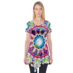 Sunshine Feeling Mandala Short Sleeve Tunic