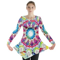 Sunshine Feeling Mandala Long Sleeve Tunic