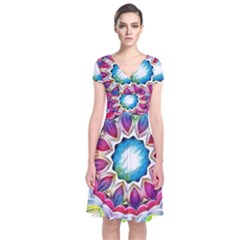 Sunshine Feeling Mandala Short Sleeve Front Wrap Dress