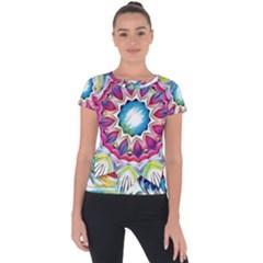 Sunshine Feeling Mandala Short Sleeve Sports Top