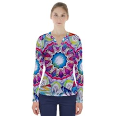 Sunshine Feeling Mandala V Neck Long Sleeve Top