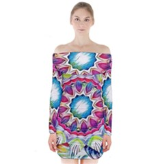 Sunshine Feeling Mandala Long Sleeve Off Shoulder Dress