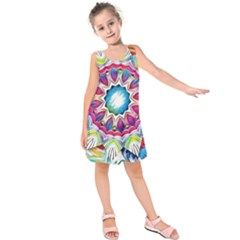 Sunshine Feeling Mandala Kids  Sleeveless Dress