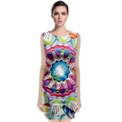 Sunshine Feeling Mandala Sleeveless Velvet Midi Dress