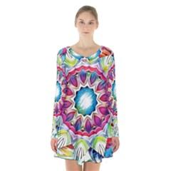 Sunshine Feeling Mandala Long Sleeve Velvet V Neck Dress