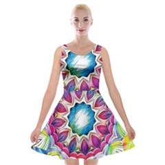 Sunshine Feeling Mandala Velvet Skater Dress