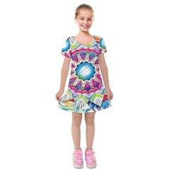Sunshine Feeling Mandala Kids  Short Sleeve Velvet Dress