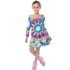 Sunshine Feeling Mandala Kids  Long Sleeve Velvet Dress