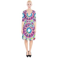 Sunshine Feeling Mandala Wrap Up Cocktail Dress