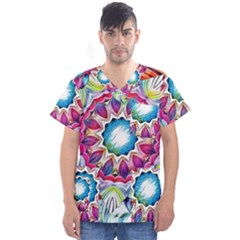 Sunshine Feeling Mandala Men s V Neck Scrub Top