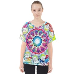 Sunshine Feeling Mandala V Neck Dolman Drape Top