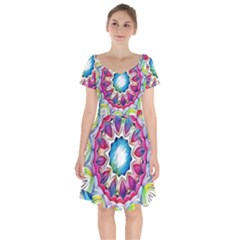 Sunshine Feeling Mandala Short Sleeve Bardot Dress