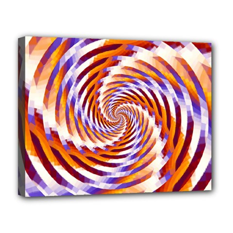Woven Colorful Waves Canvas 14  X 11