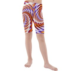 Woven Colorful Waves Kids  Mid Length Swim Shorts