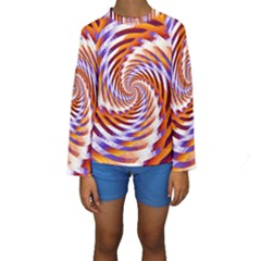 Woven Colorful Waves Kids  Long Sleeve Swimwear