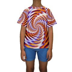 Woven Colorful Waves Kids  Short Sleeve Swimwear