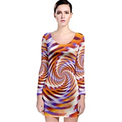 Woven Colorful Waves Long Sleeve Bodycon Dress