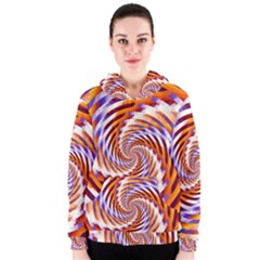 Woven Colorful Waves Women s Zipper Hoodie