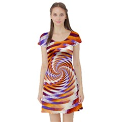 Woven Colorful Waves Short Sleeve Skater Dress