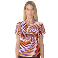Woven Colorful Waves V Neck Sport Mesh Tee