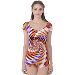 Woven Colorful Waves Boyleg Leotard