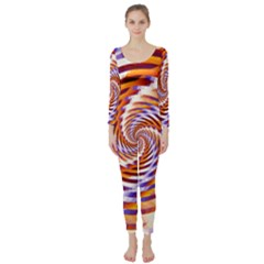Woven Colorful Waves Long Sleeve Catsuit