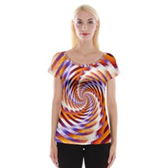 Woven Colorful Waves Cap Sleeve Tops
