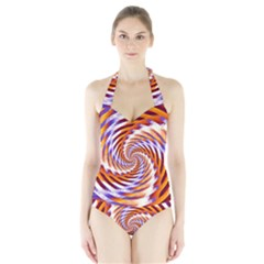 Woven Colorful Waves Halter Swimsuit