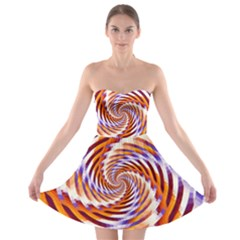 Woven Colorful Waves Strapless Bra Top Dress