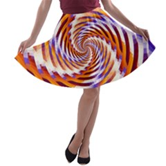 Woven Colorful Waves A Line Skater Skirt