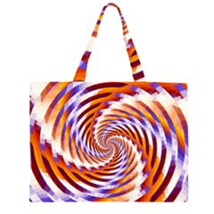 Woven Colorful Waves Zipper Large Tote Bag