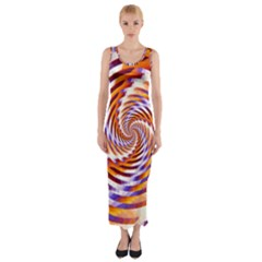 Woven Colorful Waves Fitted Maxi Dress