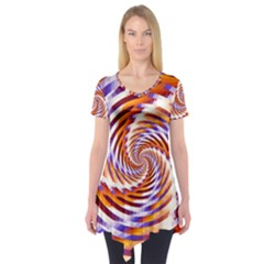 Woven Colorful Waves Short Sleeve Tunic