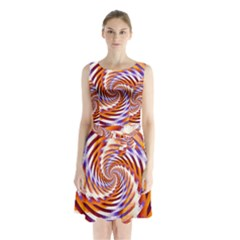 Woven Colorful Waves Sleeveless Waist Tie Chiffon Dress