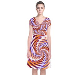 Woven Colorful Waves Short Sleeve Front Wrap Dress