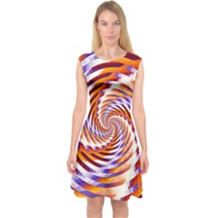 Woven Colorful Waves Capsleeve Midi Dress