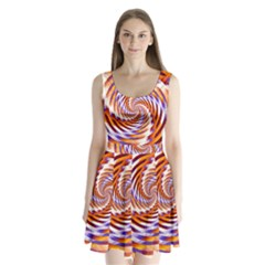 Woven Colorful Waves Split Back Mini Dress