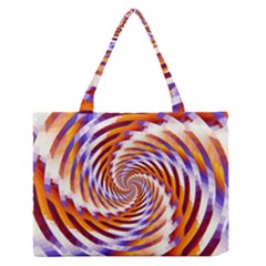 Woven Colorful Waves Zipper Medium Tote Bag