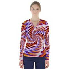 Woven Colorful Waves V Neck Long Sleeve Top