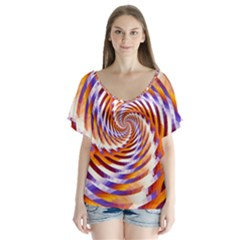 Woven Colorful Waves V Neck Flutter Sleeve Top