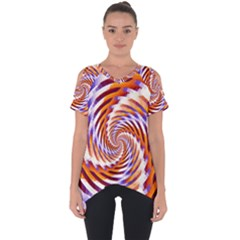 Woven Colorful Waves Cut Out Side Drop Tee