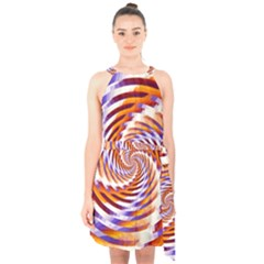 Woven Colorful Waves Halter Collar Waist Tie Chiffon Dress