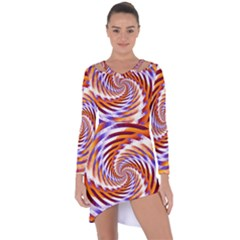 Woven Colorful Waves Asymmetric Cut Out Shift Dress